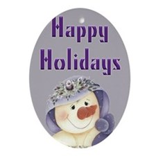 Purple Country Snowman Oval Ornament