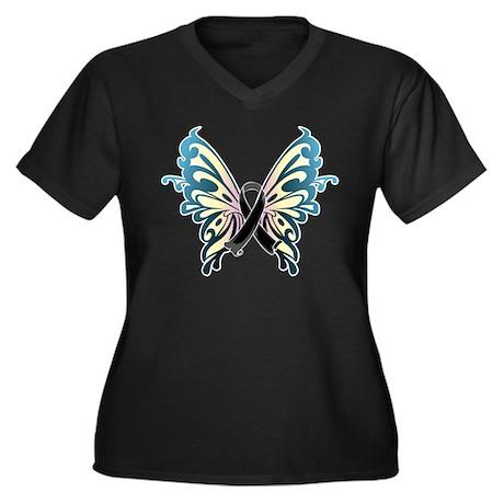 Skin Cancer Butterfly Women's Plus Size V-Neck Dar