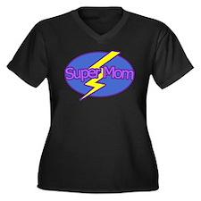 Super Mom - Women's Plus Size V-Neck Dark T-Shirt