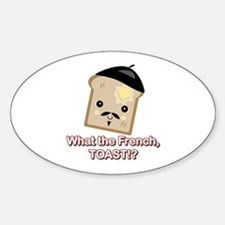What the French Toast Kawaii Style Oval Decal