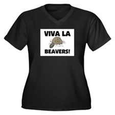 Viva La Beavers Women's Plus Size V-Neck Dark T-Sh