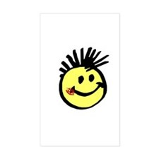 Smiley Face with Mohawk Rectangle Bumper Stickers