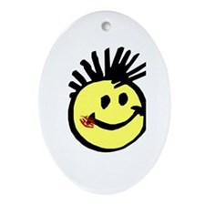 Smiley Face with Mohawk Oval Ornament