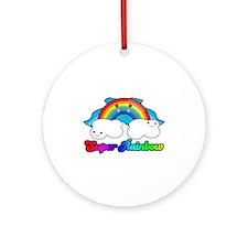 Super Rainbow Superhero Ornament (Round)