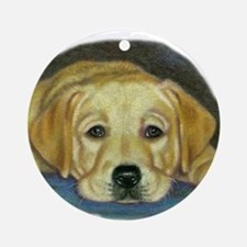 Time Out Yellow Lab Pup Ornament (Round)