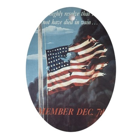 Navy WWII Poster Oval Ornament