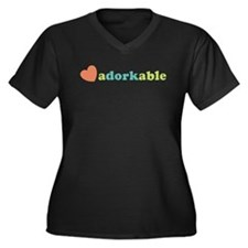 Adorkable Women's Plus Size V-Neck Dark T-Shirt