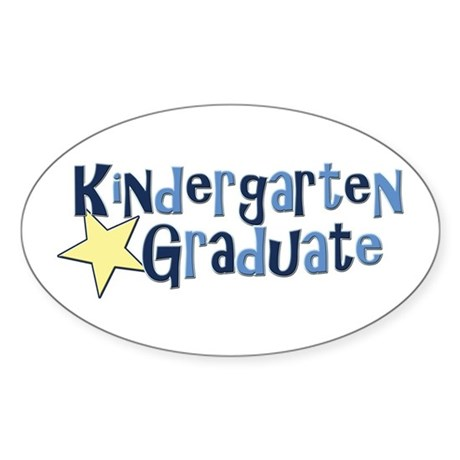 Boy Kindergarten Graduate Oval Sticker