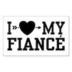 I Love My Fiance Rectangle Sticker