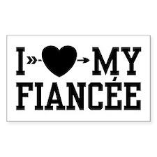 I Love My Fiancee Rectangle Decal