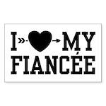 I Love My Fiancee Rectangle Sticker