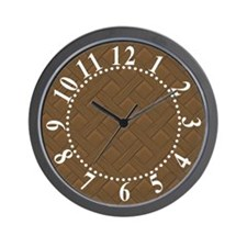Brown Trellis Bold White Numbers Wall Clock