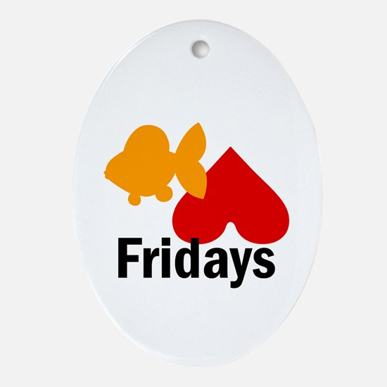 Goldfish hate Fridays Oval Ornament
