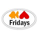 Goldfish hate Fridays Oval Sticker