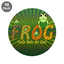 """Frog Fully Rely On God 3.5"""" Button (10 pack)"""