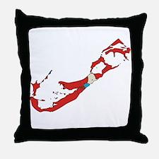 Bermuda Flag Map Throw Pillow
