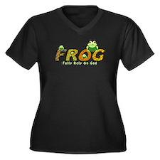 Frog Fully Rely On God Women's Plus Size V-Neck Da