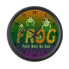 Frog Fully Rely On God Large Wall Clock