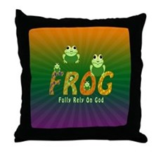 Frog Fully Rely On God Throw Pillow