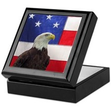 Bald Eagle and American Flag Keepsake Box