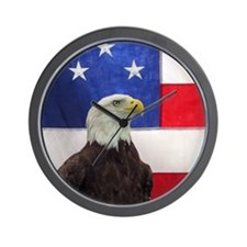Bald Eagle and American Flag Wall Clock