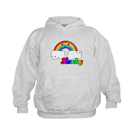 Lucky Rainbow and Clouds Kids Hoodie