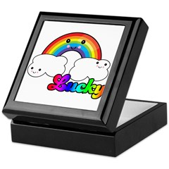 Lucky Rainbow and Clouds Keepsake Box