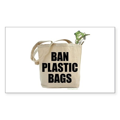 Ban Plastic Bags Rectangle Sticker