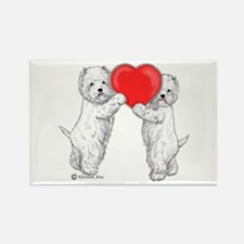 Westies with Heart Rectangle Magnet