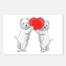 Westies with Heart Postcards (Package of 8)