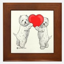 Westies with Heart Framed Tile