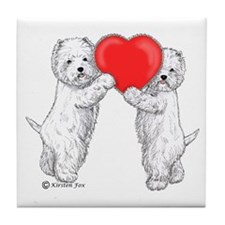 Westies with Heart Tile Coaster