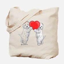 Westies with Heart Tote Bag