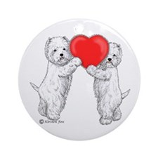 Westies with Heart Ornament (Round)