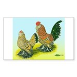 Mille Fleur Rooster & Hen Rectangle Sticker