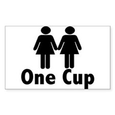 2 girls 1 cup Rectangle Decal