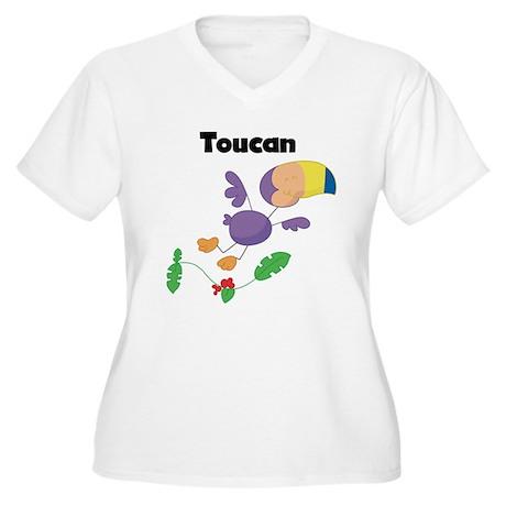 Whimsical Toucan Women's Plus Size V-Neck T-Shirt