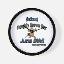 National Naughty Beaver Day Wall Clock