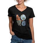 Love Earth Women's V-Neck Dark T-Shirt