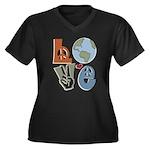 Love Earth Women's Plus Size V-Neck Dark T-Shirt
