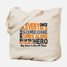 HERO Comes Along 1 Aunt LEUKEMIA Tote Bag