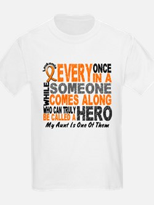 HERO Comes Along 1 Aunt LEUKEMIA T-Shirt