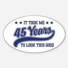 45th Birthday Oval Decal