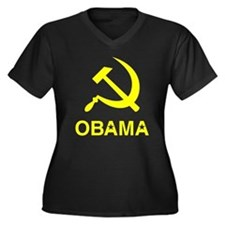 Socialist Obama Women's Plus Size V-Neck Dark T-Sh
