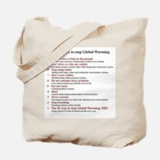 Top 10 ways to stop global warming Tote Bag