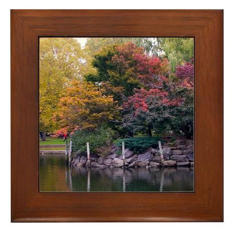 Public Garden in Autumn Framed Tile