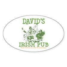 David's Vintage Irish Pub Oval Decal