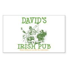 David's Vintage Irish Pub Rectangle Sticker 10 pk