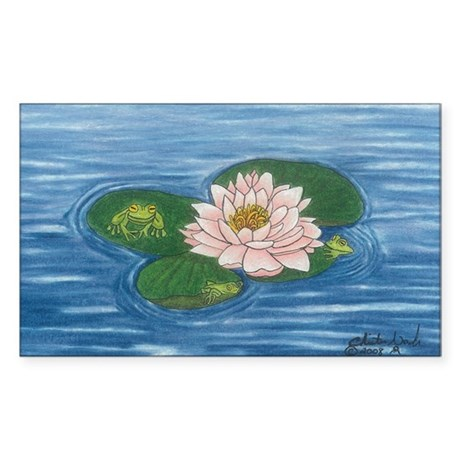 Frogs on a Lilly Pad Rectangle Sticker