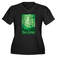 Live Green Women's Plus Size V-Neck Dark T-Shirt